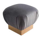 Lotus Grey Ottoman from the Lotus Collection  made from Steel, Velvet in Grey featuring Gold steel base and Can be used as a stool or ottoman