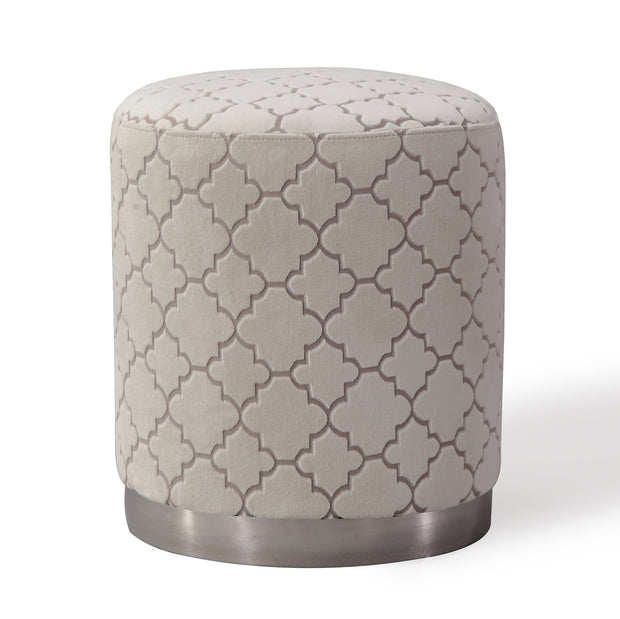 Opal Cream Moroccan Ottoman from the Opal Collection  made from Velvet, Stainless Steel, Pine in Cream featuring Handmade by skilled furniture craftsmen and Silver stainless steel base