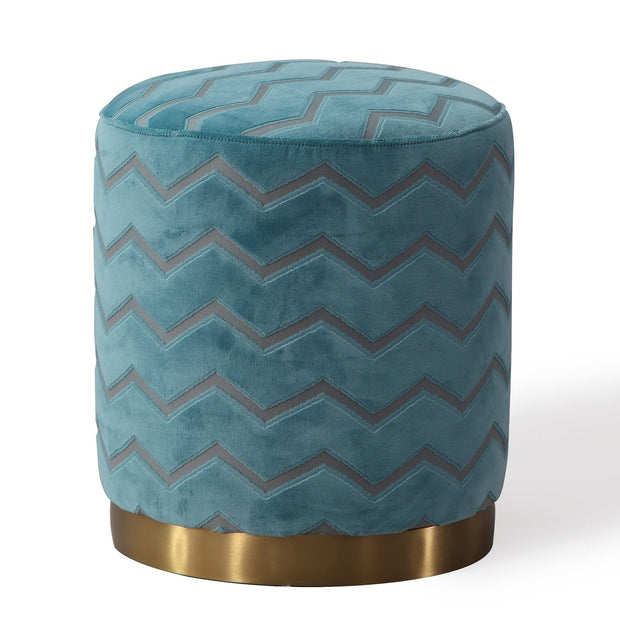 Opal Sky Moroccan Ottoman from the Opal Collection  made from Velvet, Stainless Steel, Pine in Blue featuring Handmade by skilled furniture craftsmen and Gold stainless steel base
