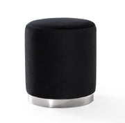 Opal Black Velvet Ottoman -Silver Base from the Opal Collection  made from Velvet, Stainless Steel, Pine in Black featuring Handmade by skilled furniture craftsmen and Silver stainless steel base