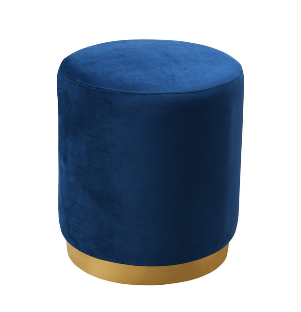 Opal Navy Velvet Ottoman from the Opal Collection  made from Velvet, Stainless Steel, Pine in Navy featuring Handmade by skilled furniture craftsmen and Gold stainless steel base