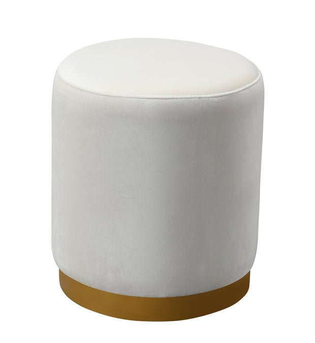 Opal Cream Velvet Ottoman from the Opal Collection  made from Velvet, Stainless Steel, Pine in Cream featuring Handmade by skilled furniture craftsmen and Gold stainless steel base