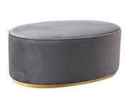 Scarlett Grey Ottoman from the Scarlett Collection  made from Velvet, Wood, Stainless Steel in Grey featuring Large oval shaped ottoman and Gold steel base