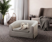 Molly Beige Linen Pet Bed from the Molly Collection  made from Linen, Wood in Beige featuring Slip ​cover easily removes and is washable and Solid wood frame