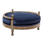 Hound Navy Pet Bed from the Hound Collection  made from Oak, Velvet in Navy featuring Completely handmade and Removable and ​waterproof cushion
