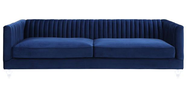 Aviator Navy Velvet Sofa from the Aviator Collection  made from Velvet in Navy featuring Handmade by skilled furniture craftsmen and Kiln dried solid wood frame with shapely Lucite legs
