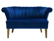 Iris Navy Velvet Settee from the Iris Collection  made from Velvet in Navy featuring Handmade by skilled furniture craftsmen and Kiln dried solid wood frame with antique finished Birch wood legs