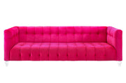 Bea Pink Velvet Sofa from the Bea Collection  made from Velvet in Pink featuring Handmade by skilled furniture craftsmen and Kiln dried solid wood frame with shapely Lucite legs