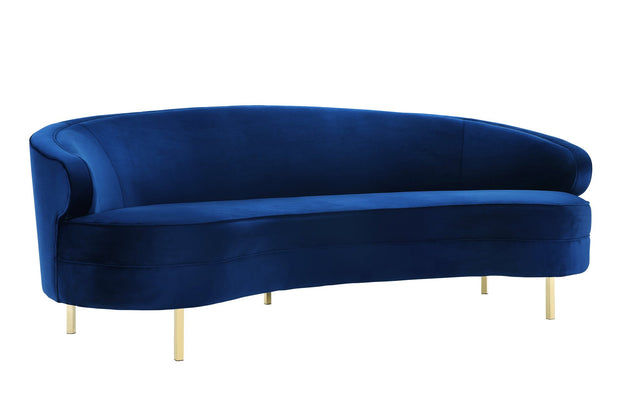 Baila Navy Velvet Sofa from the Baila Collection  made from Velvet, Wood, Stainless Steel in Navy featuring Handmade by skilled furniture craftsmen and Elegantly curved silhouette