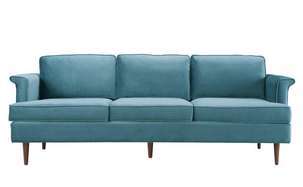 Porter Sea Blue Sofa from the Porter Collection  made from Velvet, Wood in Blue featuring Handmade by skilled furniture craftsmen and Removable seat and back cushions