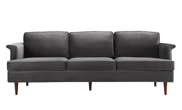 Porter Grey Sofa from the Porter Collection  made from Velvet, Wood in Grey featuring Handmade by skilled furniture craftsmen and Removable seat and back cushions