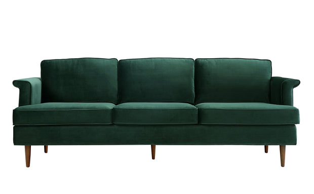 Porter Forest Green Sofa from the Porter Collection  made from Velvet, Wood in Green featuring Handmade by skilled furniture craftsmen and Removable seat and back cushions