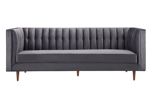 Sebastian Grey Velvet Sofa from the Sebastian Collection  made from Wood, Velvet in Grey featuring Handmade by skilled furniture craftsmen and Comfortable velvet upholstery with a striped back