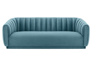 Arno Sea Blue Velvet Sofa from the Arno Collection  made from Velvet, Wood in Sea Blue featuring Handmade by skilled furniture craftsmen and Sumptuous velvet upholstery