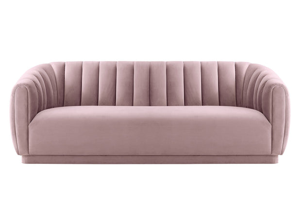 Arno Blush Velvet Sofa from the Arno Collection  made from Velvet, Wood in Blush featuring Handmade by skilled furniture craftsmen and Sumptuous velvet upholstery