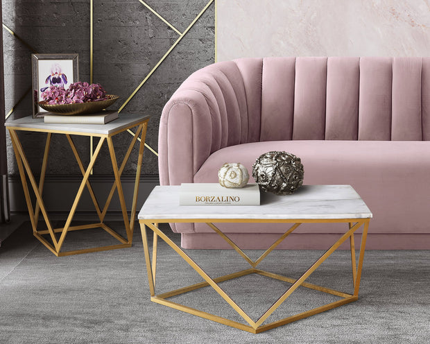 Arno Blush Velvet Sofa