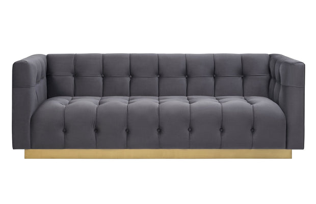Roma Grey Velvet Sofa from the Roma Collection  made from Velvet, Wood, Stainless Steel in Grey featuring Stainless steel gold base and Comfortable velvet upholstery with a tufted seat and back