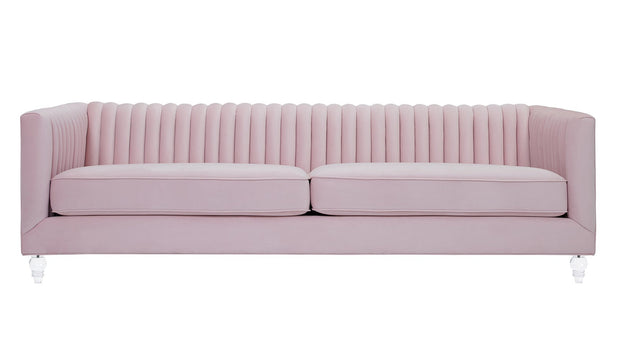 Aviator Blush Sofa from the Aviator Collection  made from Velvet in Blush featuring Handmade by skilled furniture craftsmen and Kiln dried solid wood frame with shapely Lucite legs