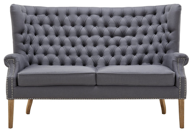 Abe Grey Linen Wing Loveseat from the Abe Collection  made from Linen, Wood in Grey featuring Completely handmade  and Solid Oak wood frame with natural Oak legs and non-marking feet