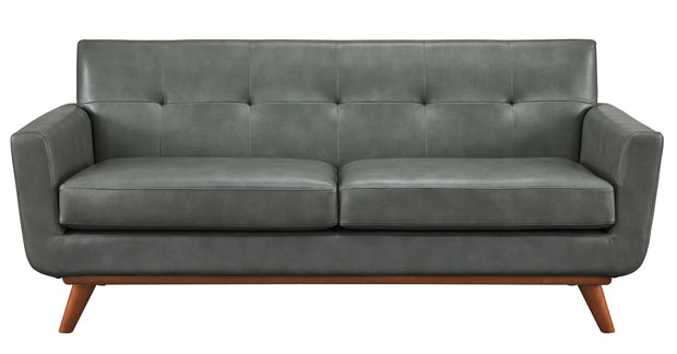 Lyon Smoke Grey Loveseat from the Lyon Collection  made from Vegan Leather in Smoke Grey featuring Handmade by skilled furniture craftsmen and Classic Mid-Century design
