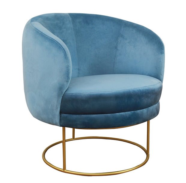 Bella Blue Velvet Chair from the TOV Slashed Collection  made from  in Blue featuring Part of the TOV Slashed collection and Sumptuous velvet upholstery