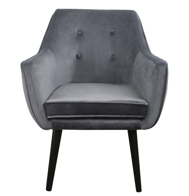 Jace Grey Velvet Chair from the TOV Slashed Collection  made from  in Grey featuring Part of the TOV Slashed collection and Mid-century modern style