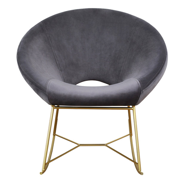 Nolan Grey Velvet Chair from the TOV Slashed Collection  made from  in Grey featuring Part of the TOV Slashed collection and Rocking chair with gold iron base
