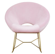 Nolan Blush Velvet Chair from the TOV Slashed Collection  made from  in Blush featuring Part of the TOV Slashed collection and Rocking chair with gold iron base