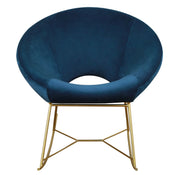Nolan Navy Velvet Chair from the TOV Slashed Collection  made from  in Navy featuring Part of the TOV Slashed collection and Rocking chair with gold iron base