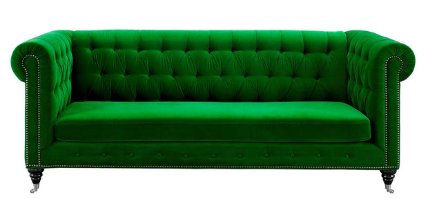 Hanny Green Velvet Sofa from the Hanny Collection  made from Velvet in Green featuring Handmade by skilled furniture craftsmen and Individually hand-applied bronze nail heads