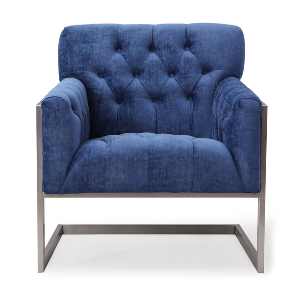 Moya Navy Velvet Chair from the Moya Collection  made from Velvet, Stainless Steel, Pine in Navy featuring Handmade by skilled furniture craftsmen and Stainless steel legs and frame