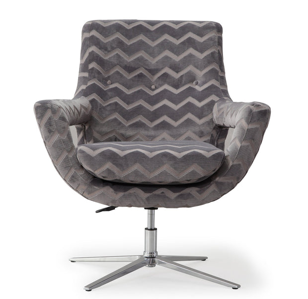 Fifi Grey Striped Swivel Chair from the Fifi Collection  made from Velvet, Stainless Steel, Pine in Grey featuring Handmade by skilled furniture craftsmen and 360 Swivel feature
