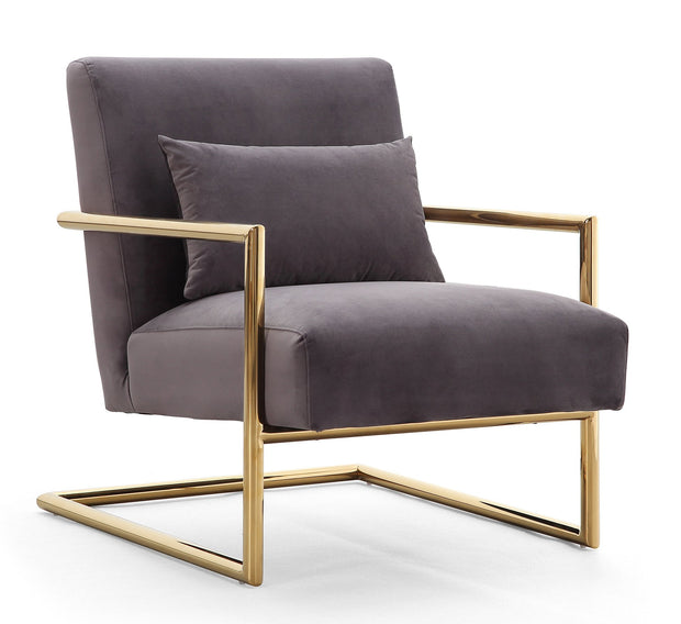 Elle Grey Velvet Chair from the Elle Collection  made from Velvet, Stainless Steel, Pine in Grey featuring Handmade by skilled furniture craftsmen and Gold stainless steel frame