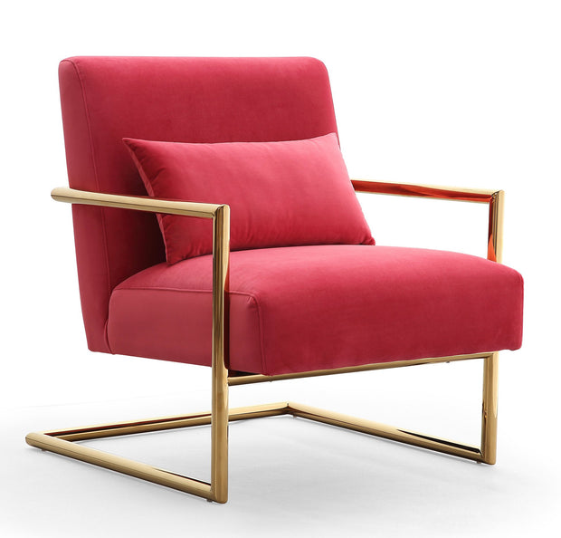Elle Pink Velvet Chair from the Elle Collection  made from Velvet, Stainless Steel, Pine in Pink featuring Handmade by skilled furniture craftsmen and Gold stainless steel frame