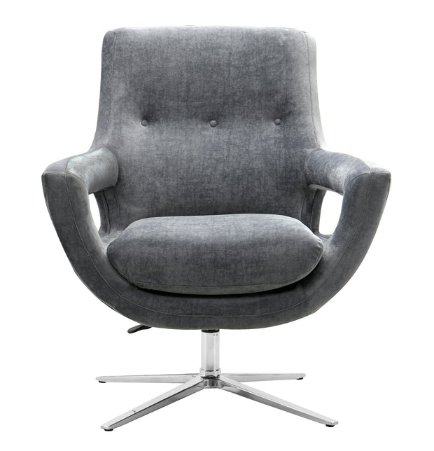 Fifi Grey Velvet Swivel Chair from the Fifi Collection  made from Velvet, Stainless Steel, Pine in Grey featuring Handmade by skilled furniture craftsmen and 360 Swivel feature