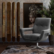 Fifi Grey Velvet Swivel Chair