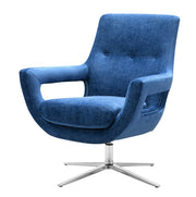 Fifi Navy Swivel Chair from the Fifi Collection  made from Velvet, Stainless Steel, Pine in Navy featuring Handmade by skilled furniture craftsmen and 360 Swivel feature