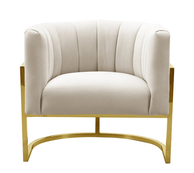 Magnolia Spotted Cream Chair with Gold Base from the Magnolia Collection  made from Stainless Steel, Velvet in Cream featuring Handmade by skilled furniture craftsmen and Sumptuous textured velvet upholstery