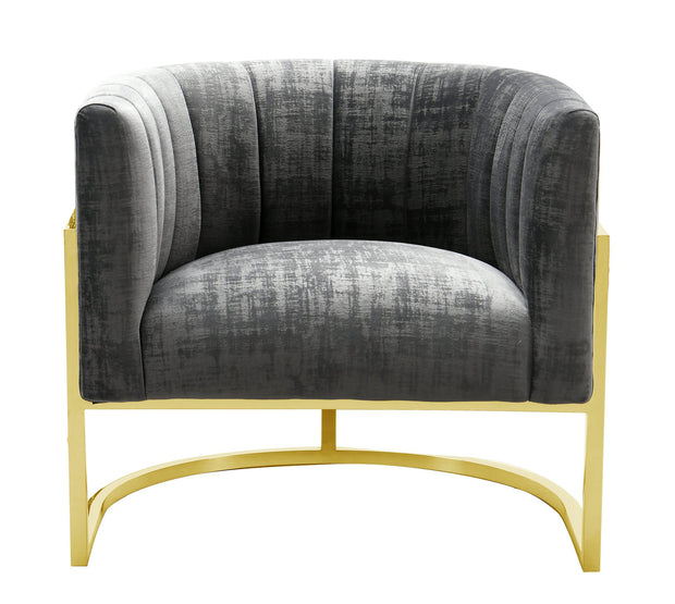 Magnolia Grey Chair with Gold Base from the Magnolia Collection  made from Stainless Steel, Velvet in Grey featuring Handmade by skilled furniture craftsmen and Sumptuous textured velvet upholstery