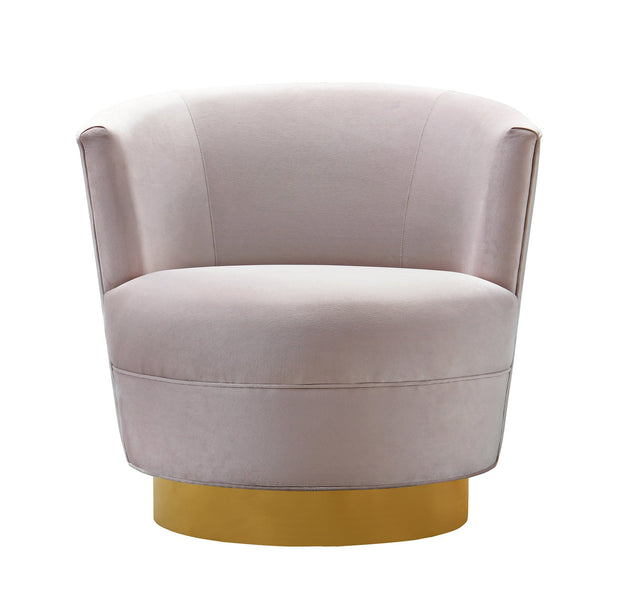 Noah Blush Velvet Swivel Chair from the Noah Collection  made from Velvet, Wood, Stainless Steel in Blush featuring Swivel chair with stainless steel base and Soft and sumptuous velvet upholstery