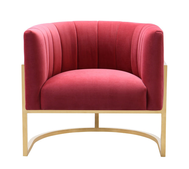 Magnolia Hot Pink Velvet Chair from the Magnolia Collection  made from Stainless Steel, Velvet in Hot Pink featuring Handmade by skilled furniture craftsmen and Sumptuous velvet upholstery