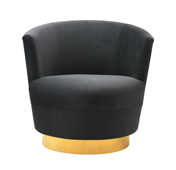 Noah Black Swivel Chair from the Noah Collection  made from Velvet, Wood, Stainless Steel in Black featuring Swivel chair with stainless steel base and Soft and sumptuous velvet upholstery