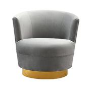 Noah Grey Swivel Chair from the Noah Collection  made from Velvet, Wood, Stainless Steel in Grey featuring Swivel chair with stainless steel base and Soft and sumptuous velvet upholstery