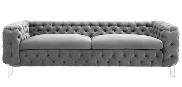 Celine Grey Velvet Sofa from the Celine Collection  made from Velvet, Wood in Grey featuring Handmade by skilled furniture craftsmen and High quality Acrylic legs