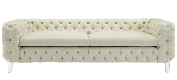 Celine Beige Linen Sofa from the Celine Collection  made from Linen, Wood in Beige featuring Handmade by skilled furniture craftsmen and High quality Acrylic legs