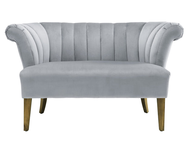Iris Grey Velvet Settee from the Iris Collection  made from Velvet in Grey featuring Handmade by skilled furniture craftsmen and Kiln dried solid wood frame with antique finished Birch wood legs