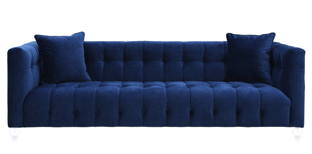 Bea Navy Velvet Sofa from the Bea Collection  made from Velvet in Navy featuring Handmade by skilled furniture craftsmen and Kiln dried solid wood frame with shapely Lucite legs