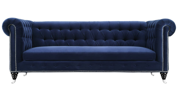 Hanny Navy Blue Velvet Sofa from the Hanny Collection  made from Velvet in Navy featuring Handmade by skilled furniture craftsmen and Individually hand-applied silver nail heads