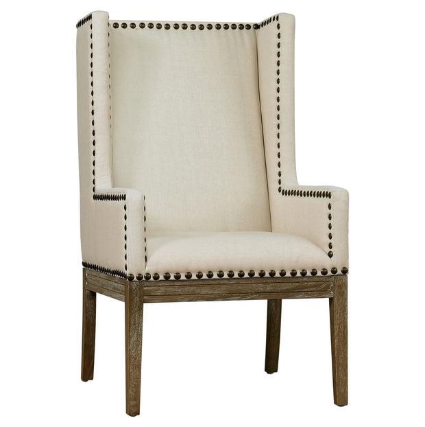 Tribeca Beige Linen Chair from the Tribeca Collection  made from Natural Linen in Beige featuring Handmade by skilled furniture craftsmen and Kiln dried wood frame with Reclaimed Oak legs