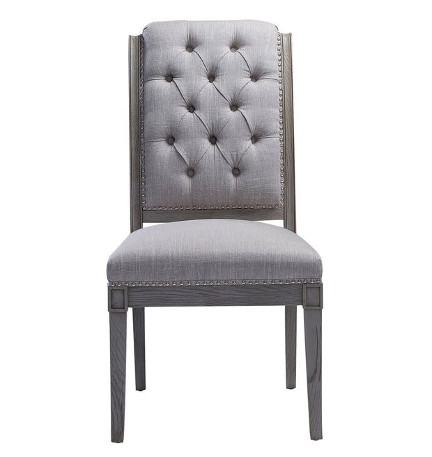 Addington Beige Linen Side Chair from the Addington Collection  made from Oak, Linen in Beige featuring Handmade by skilled furniture craftsmen and Washed grey Oak frame and legs